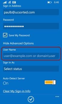 Windows mobile Lync 2013 mobile UPN
