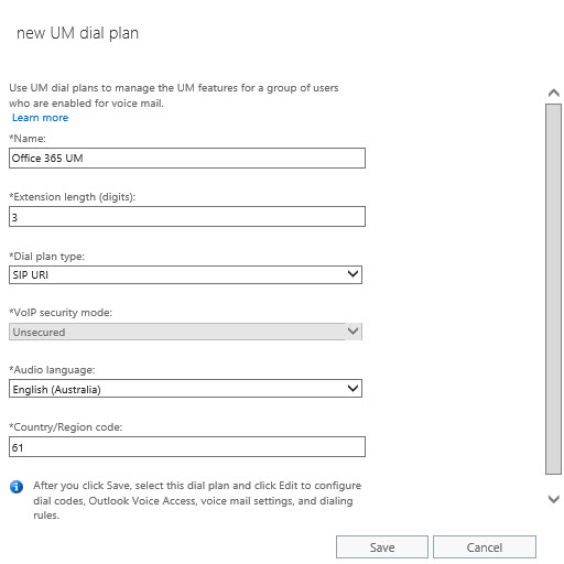 Office 365 Dial Plan