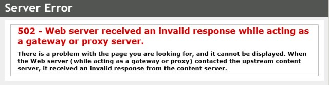 Server Error - Gateway or Proxy Server