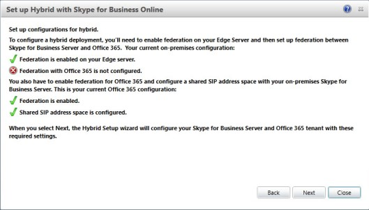 Federation with Office 365 is not configured
