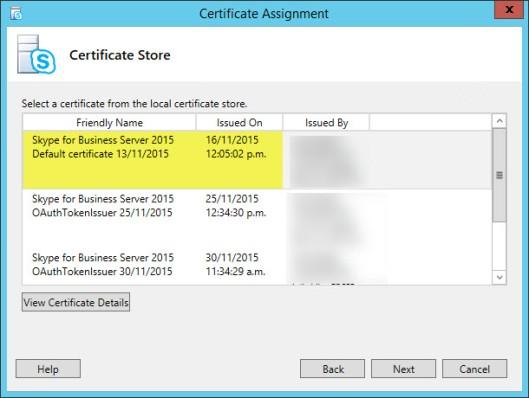 Assign Certificate