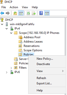06 DHCP Policies